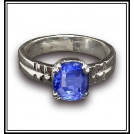 Blue Sapphire Ring in 18K White Gold